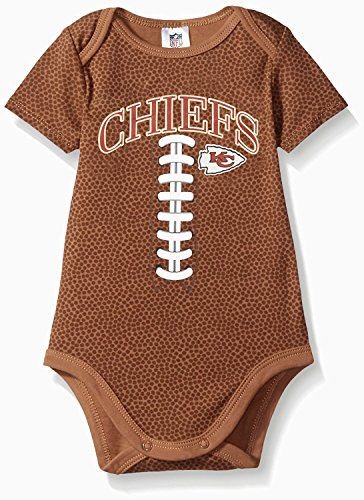 NFL Kansas City Chiefs Unisex-Baby Short-Sleeve Bodysuit, Brown, 3-6 Months ()