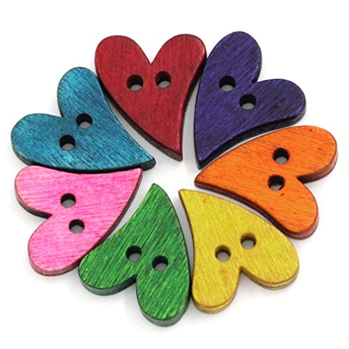 Souarts Mixed Heart Shape 2 Holes Wood Wooden Buttons 21x17mm Pack of 100pcs