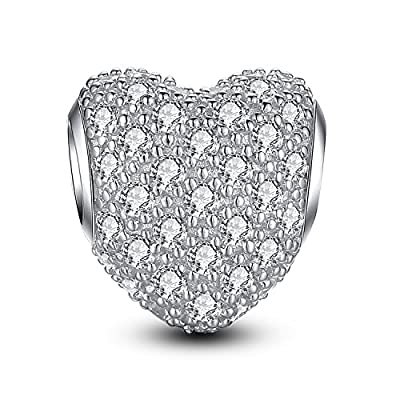 Glamulet 925 Sterling Silver Paved Gemstone Heart Love Charms Beads Fits Pandora Bracelet, Ideal Gifts from Glamulet