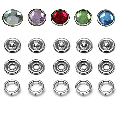 16L/10mm Snap Fastener Kit, 50 Sets Classic Rhinestone Prong Ring Snaps for Western Shirt Clothes Popper Studs with Clear Storage Box [Diamond Shape Jewelry Snap](5 Color x 10 Sets) ()