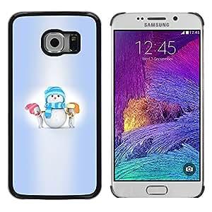 TopCaseStore / la caja del caucho duro de la cubierta de protección de la piel - Winter Kids Small Holidays - Samsung Galaxy S6 EDGE SM-G925
