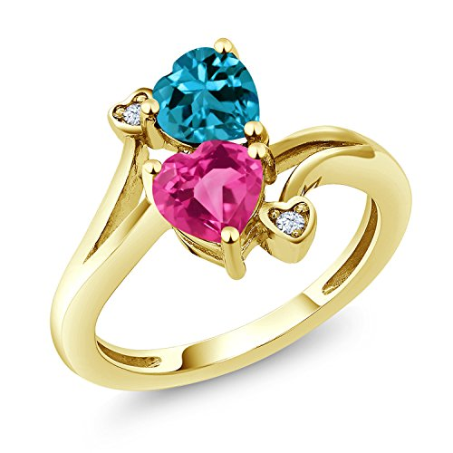 Gem Stone King 1.78 Ct Heart Shape Pink Created Sapphire London Blue Topaz 10K Yellow Gold Ring (Size 6)