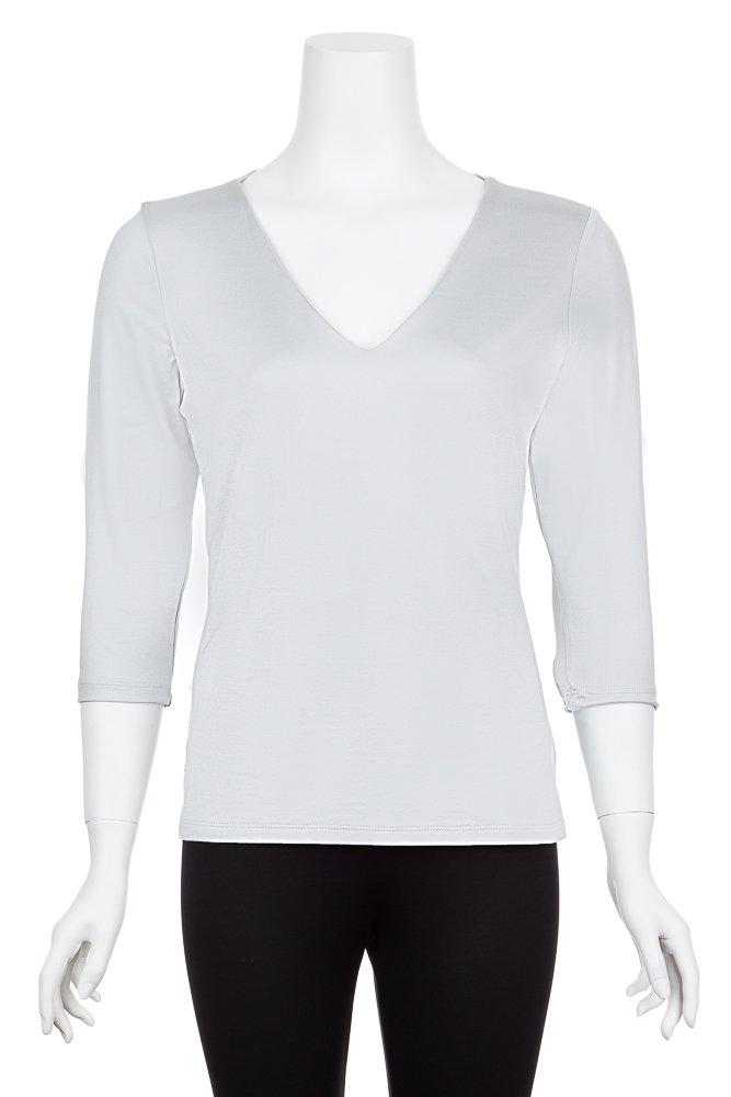 A'Nue Miami Women's Veronica, 3/4 Sleeve Basic V Neck Shirt, Medium, Platinum