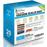 20 Bags! - Heavy Duty Vacuum Bags Storage Set & Free Pump, Premium High Strength Seal Space Saver in 4 different sizes, including 2 Giant Bags - SAVING SPACE = SAVE MONEY
