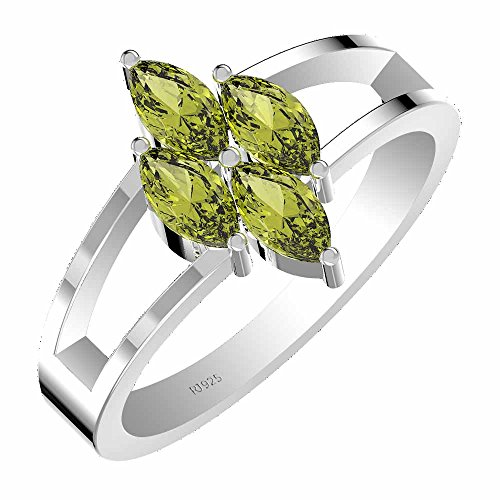 1.40ctw,Genuine Peridot 3x6mm Marquise & Solid .925 Sterling Silver Ring (Size-10)