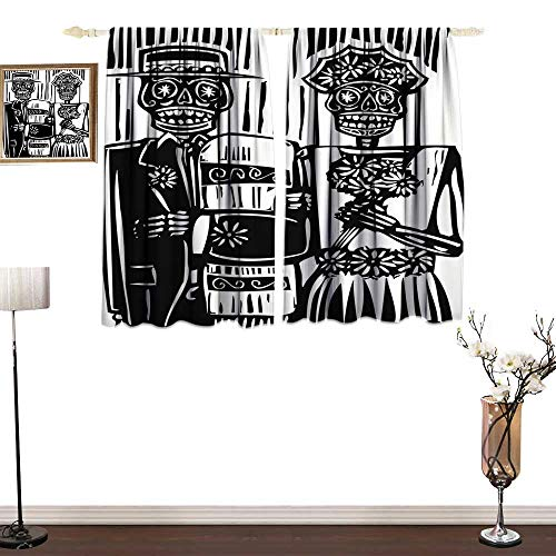 home1love Sliding Curtains Day of The Dead Woodcut Style Skeleton Couple Wedding in Cemetery Image with Bride Groom Environmental Protection W55 xL45]()
