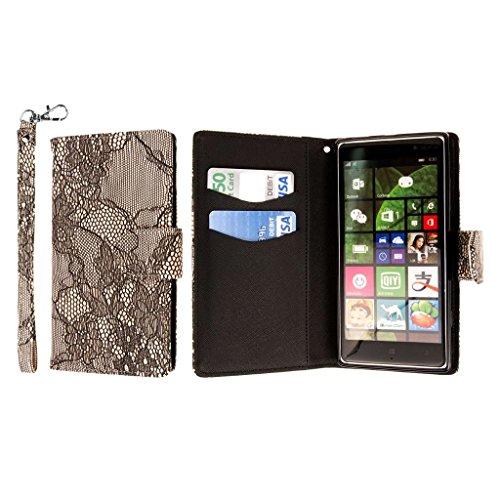 Nokia Lumia 830 Wallet Case, MPERO FLEX FLIP Wallet Case - Black Lace