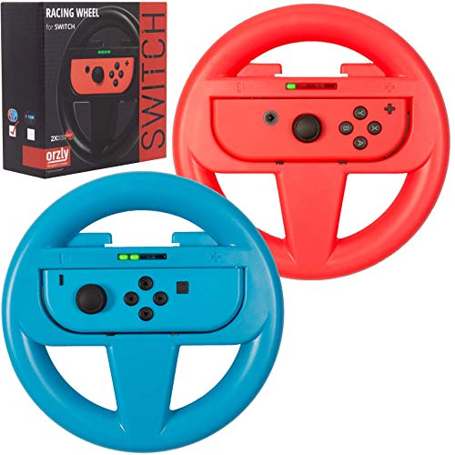 Steering wheels for Nintendo switch joycons and Mario Kart parties & tournaments TWIN PACK – Nightrider lights edition…