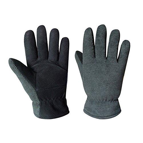 OZERO Winter Gloves,Denim-Black Soft Deerskin Suede Palm and Fluffy Polar Fleece Back Warm Gloves for unisex with Heatlok Insulated Cotton Layer (Suede Unisex Glove)
