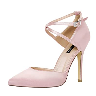 ERIJUNOR E2264 Women High Heel Ankle Strap Satin Pumps Evening Prom Wedding  Bridal Shoes Blush Size ca7a8cc52102