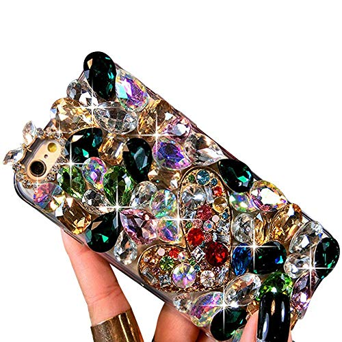 IKASEFU Luxury Sleek colorful Rhinestone Glitter Sparkly Bling Shockproof Cute Shiny silicone Thin Bumper Diamond Protective Cover Compatible with iPhone 6 plus/6S plus,Blue ()
