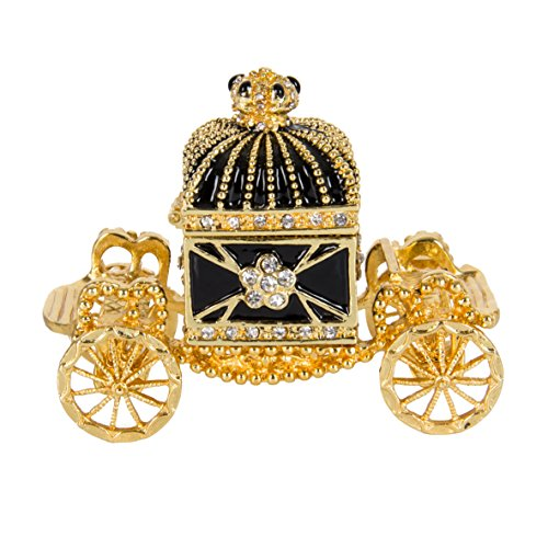 QIFU-Hand Painted Enameled Royal Carriage Decorative Hinged Jewelry Trinket Box(Gold)