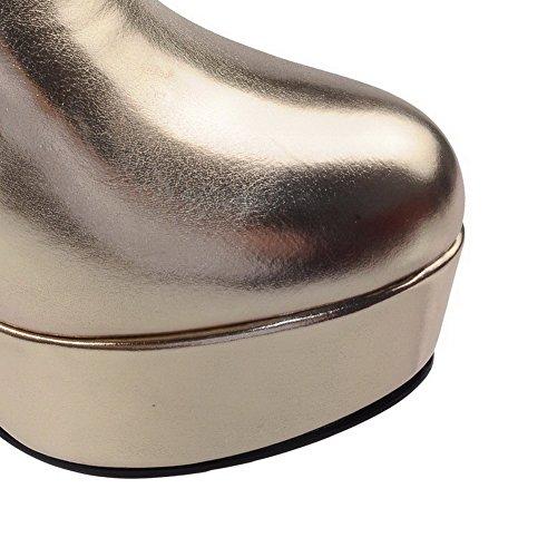 AllhqFashion Mujeres Sólido Tacón ancho Plataforma Sin cordones Puntera Redonda Botas Gold