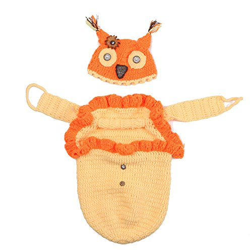 Best Hick Costume (Newborn Baby Owl Swaddle Blanket Sleeping Bag Knitting Wool Hat Costume Photography Prop By Makaor (For 0-4 Months baby, Yellow))