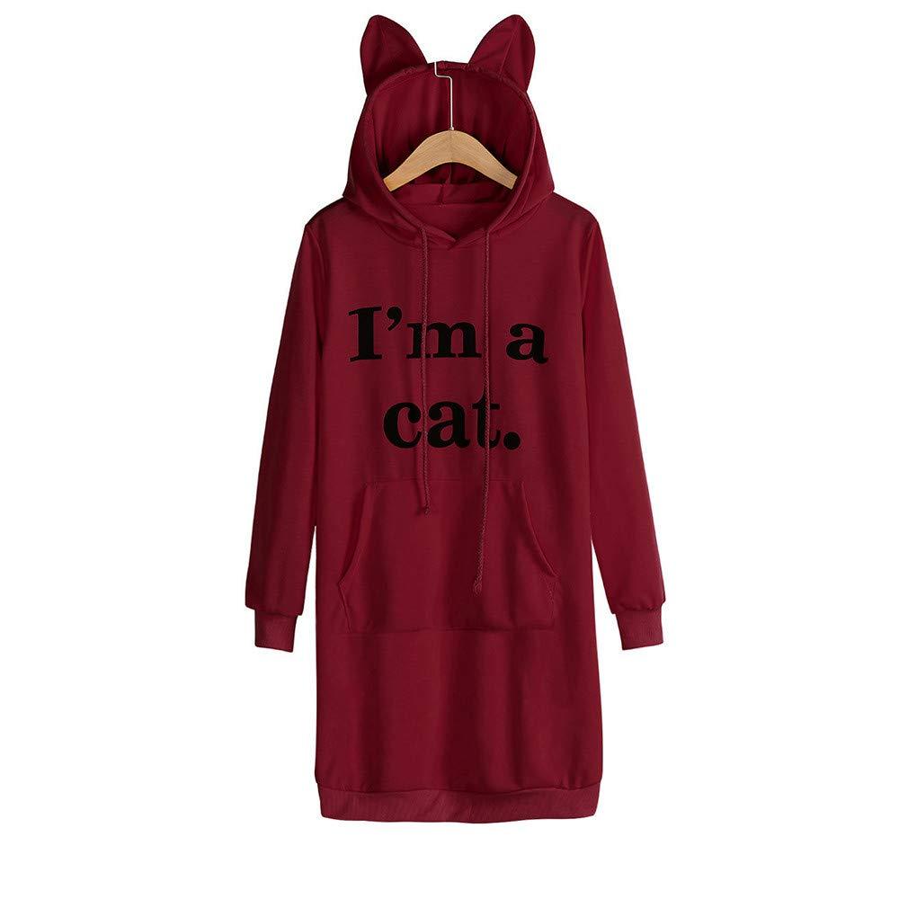 Modaworld _Vestidos Mujer Otoño Invierno Sudadera con Capucha Manga Larga para Mujer Gato Oreja Mini Vestido Vestidos Casual Playa Falda Camisas: Amazon.es: ...