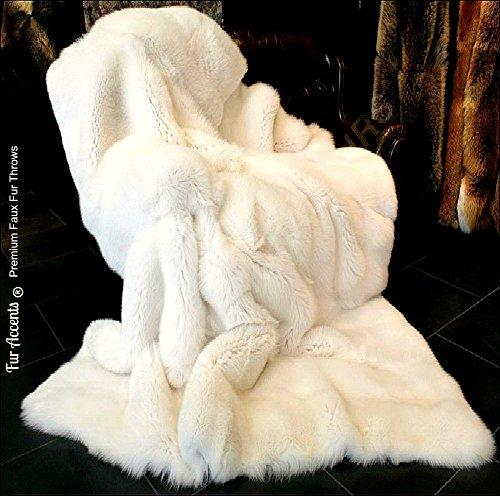 White Fox - Premium Quality Faux Fur - Designer Throw Blanket - Soft Minky Cuddle Fur Lining (4'x5')