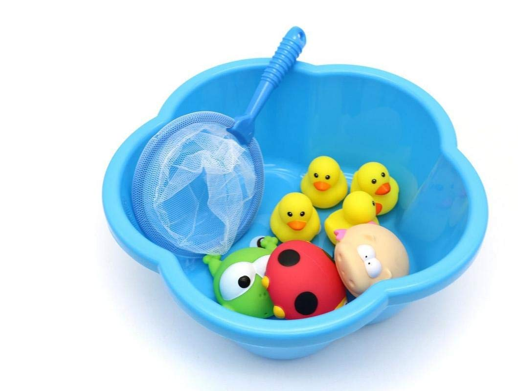 Frog LOZUSA Baby Bath Toys Toddlers Pond Animals Playset Boys Girls Rubber Duck Lady Bug Floating in a Smiling Blue Tub Babies 19+ Months Hippopotamus