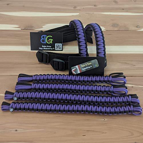 Reversible Paracord Jeep Wrangler Grab Handles - Black & Purple - Pick your pairs