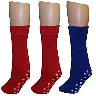 Pack of 3 Pairs - Bariatric Slipper Sock - 3x - (2) Pair of Red and (1) Pair of Blue