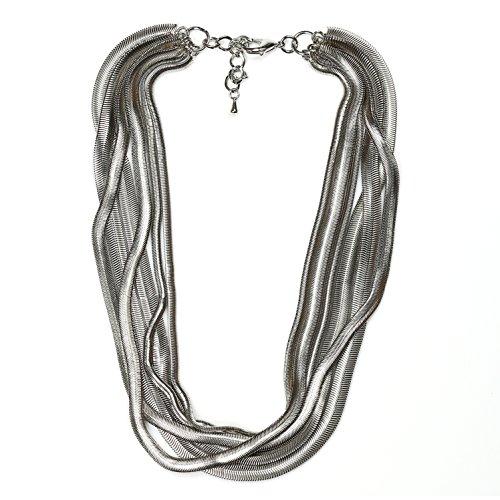 United Elegance - Bold Multi Strand Silver Tone Statement Designer -
