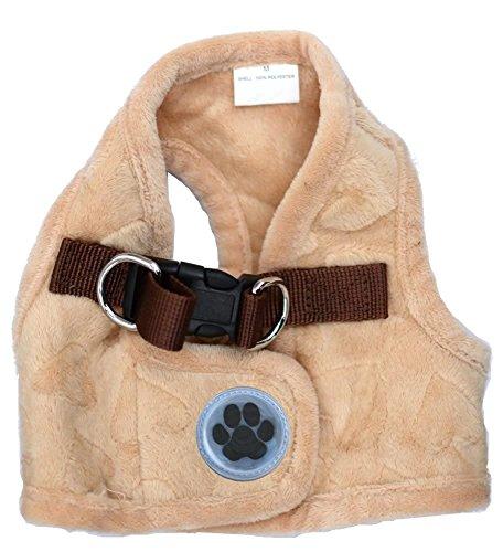 Lovely Heart Print Warm Fleece No Pulling Dog Harness Vest, XLarge Neck 15