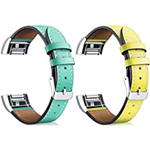 Chofit Charge 2 Bands [Vintage Series] Replacement Premium Genuine Leather Strap Classic Bracelet for Fitbit Charge 2 Bands large/Small