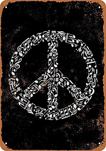 Eletina Toy Tin Sign 8X 12 Metal Sign Peace Sign Made of Musical Notes Vintage Look Wall Sign Decorative Sign Retro Sign Aluminum Sign