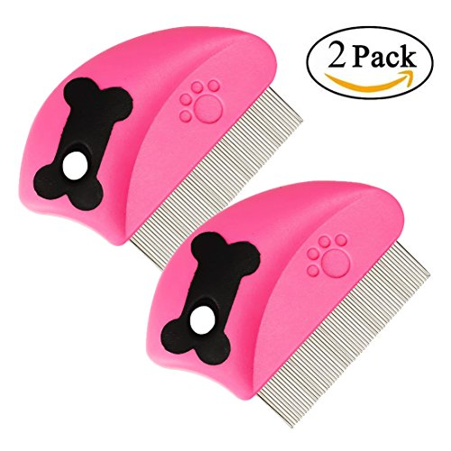 Flea Comb - GreeSuit Pet Cat Dog Lice Comb Nit Remover Grooming Brush Tools to Treatment & Remove Fleas, Mites, Ticks, Dandruff Flakes - Stainless Steel Fine Teeth