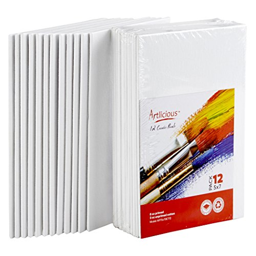 Artlicious Canvas Panels 12 Pack - 5 inch x 7 inch Super Value Pack- Artist Canvas Boards for Painting