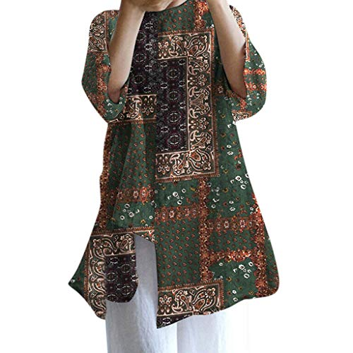 Women Summer Cotton Floral Print Blouse Asymmetric Loose Tunic Maxi Top Shirt Summer Casual Tank for Women 2019 Best Green ()