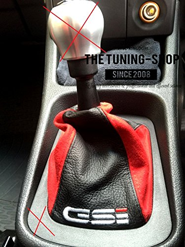 GEAR GAITER BLACK LEATHER & RED SUEDE 'GSI' EMBROIDERY The Tuning-Shop Ltd