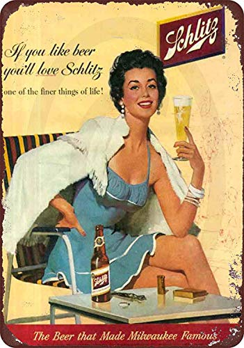 Jesiceny New Tin Sign 1960's Schlitz Beer Milwaukee Famous Vintage Aluminum Metal Sign 8x12 Inches