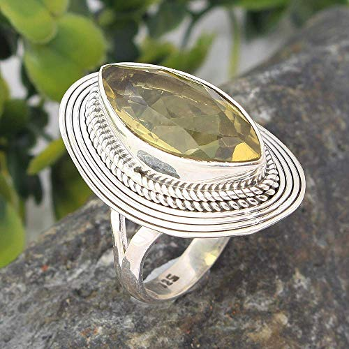 Natural Lemon Quartz Solid 925 Sterling Silver Statement Ring Jewelry, Solitaire Statement Ring