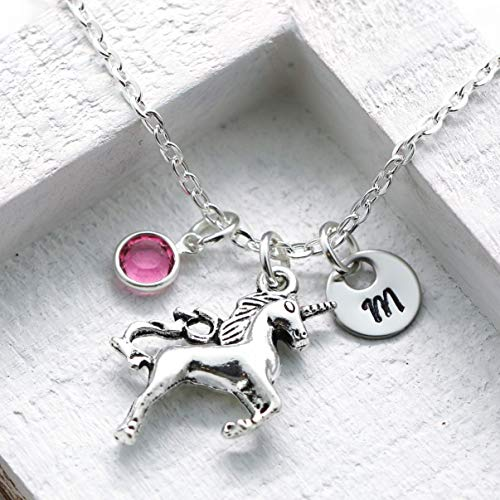 Unicorn Necklace - Unicorn Jewelry for Girls - Unicorn Lovers - Personalized Initial & Birthstone - Fast Shipping -