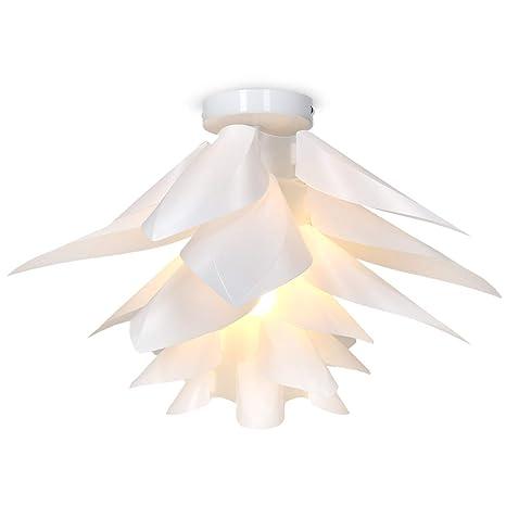 kwmobile Lámpara de puzzle colgante DIY - Iluminación de techo con diseño decorativo de flor de loto - Con enganche de techo y toma E27 en blanco