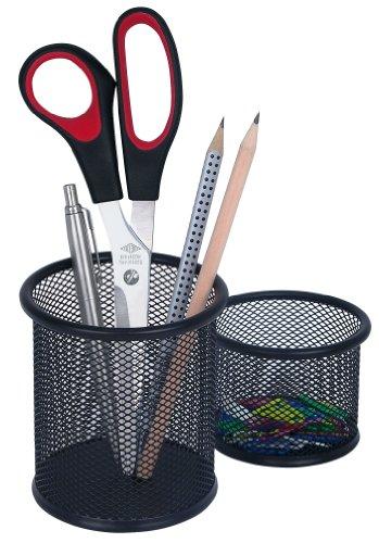 Stifteköcher Office, Set 2 Stück, Drahtmetall, schwarz