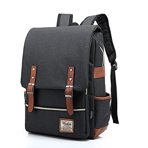 Unisex Professional Slim Business Laptop Backpack, Feskin Fashion Casual Durable Travel Rucksack Daypack (Waterproof Dustproof) with Tear Resistant Design for Macbook, Tablet - Dark Grey (Laptop Carrying Case Design)