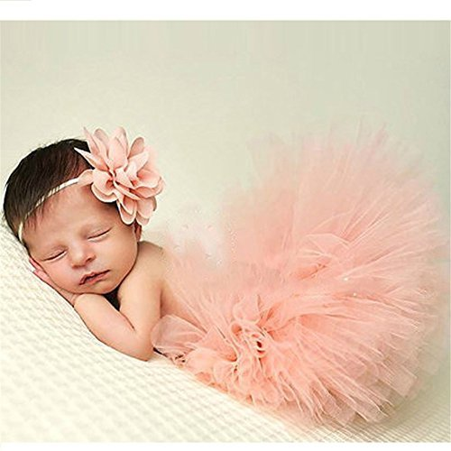 BeautyLifeⓇ Neugeborenes Baby Rock Tutu Kleidung Trikot Kostüm Foto Prop Outfits Bekleidung Set (Rosa 1)