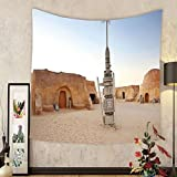Gzhihine Custom tapestry Galaxy Tapestry Image of Fantasy Movie Set Town of Fantasy Planet Out of Space Galaxy Wars Themed Bedroom Living Room Dorm Decor 60 W X 40 L Brown Blue