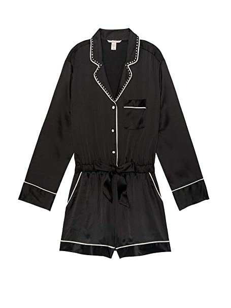 faa87dde0ab Image Unavailable. Image not available for. Color  Victoria s Secret Satin  Pajama Romper Rhinestone Button Front ...