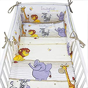 MillaLu 5 Pcs Baby Nursery Bedding Set fit to Cot 120x60cm or Cot Bed 140x70cm Padded Bumper (Fit to Cot Bed 140×70 cm…