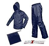 AllExtreme Unisex Super Light Outdoor Waterproof Raincoat With Hoods, Unisex Portable Rain Suit, Jacket And Pant Set - Small 'Blue'