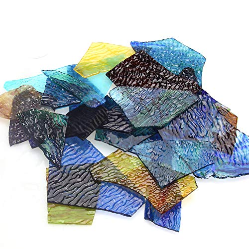 Bulk Mosaic Tiles Stained Glass, Textured Glass Mosaic Making Supplies with Handmade for DIY Art Crafts,Home Decorations, 1.1 lb