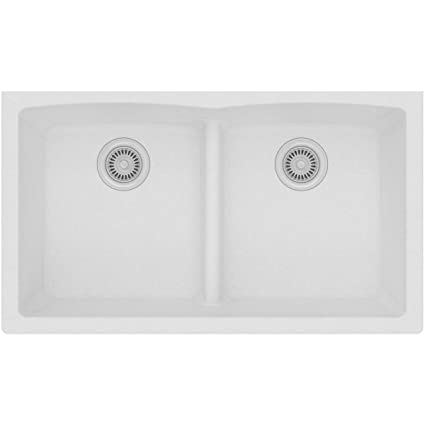 elkay quartz classic elgdulb3322wh0 white equal double bowl rh amazon com white double bowl kitchen sink with drainer lusitano double bowl white ceramic kitchen sink