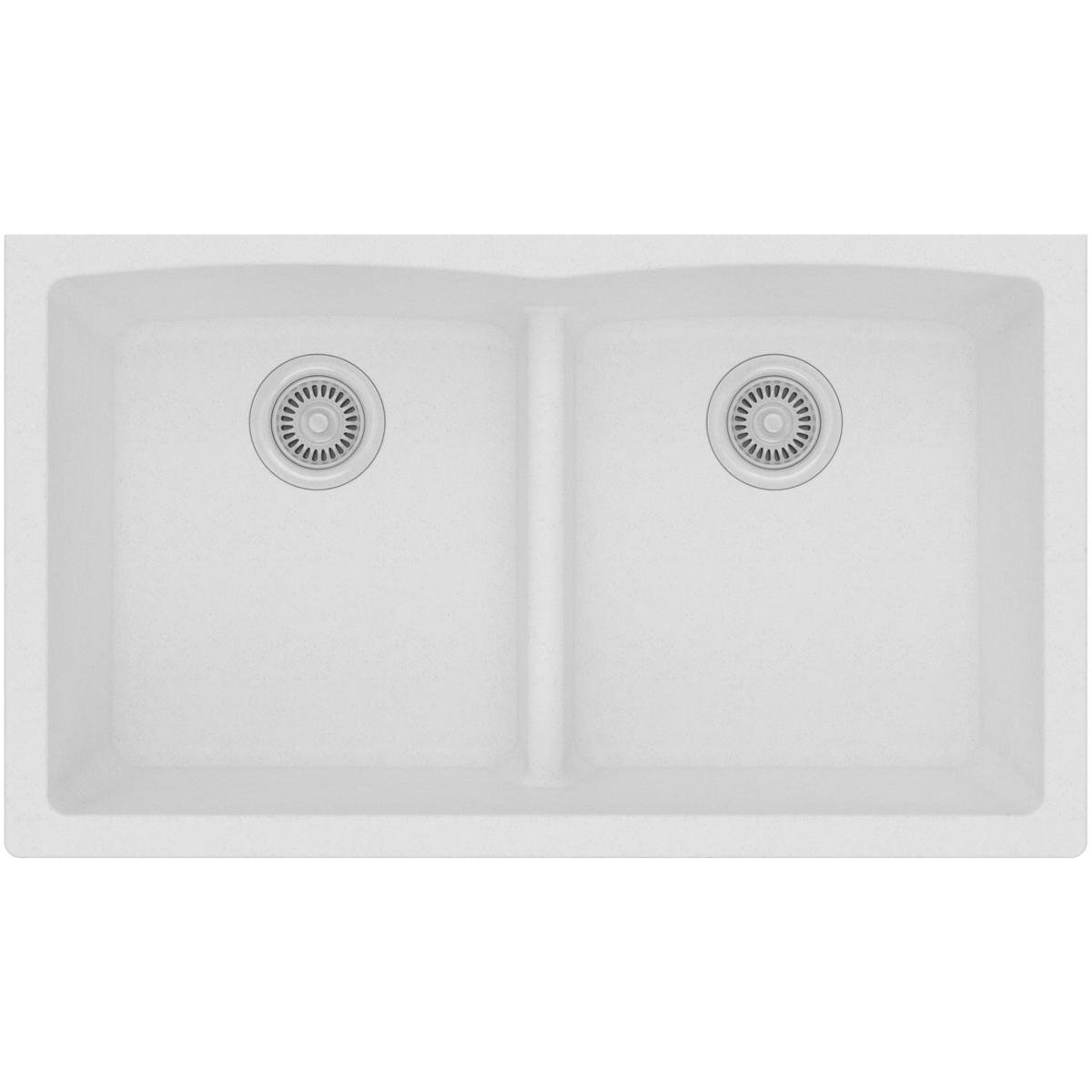 Elkay Quartz Classic ELGDULB3322WH0 White Equal Double Bowl Undermount Sink