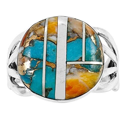 Sterling Silver Gemstone Ring with Genuine Turquoise (SELECT color) (Spiny Turquoise, - Oyster Ring
