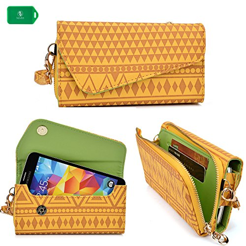 Smartphone holder with wallet/wristlet and crossbody chain included as BONUS in amber yellow universal design fits Samsung Galaxy S5 (T-mObile) - Amber Wallet