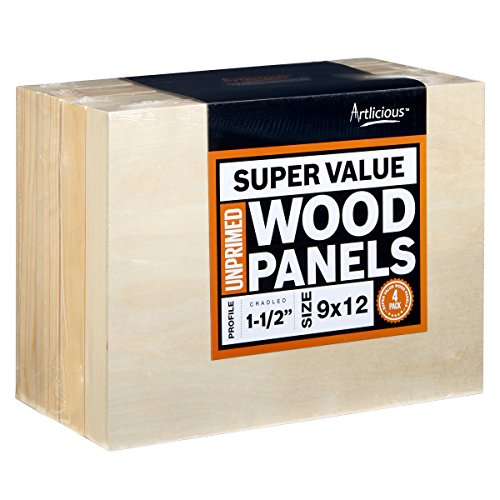 Artlicious 9x12 Super Value Wood Panel Boards for Artist Painting 4 Pack - 1-1/2'' Gallery Profile by Artlicious