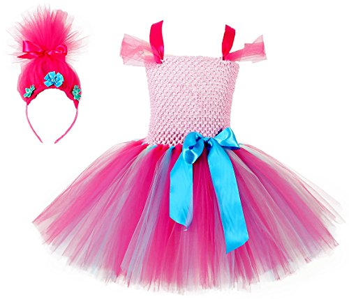Tutu Dreams Little Girls Poppy Outfit with Wig Headband Christmas New Years Eve Party (S, Troll)