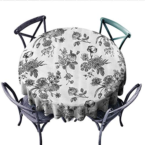 - House Decor Dinner Picnic Table Cloth Vintage Floral Pattern Victorian Classic Royal Inspired New Modern Art Image Round Wrinkle Resistant Tablecloth (Round, 36 Inch, Black and White)